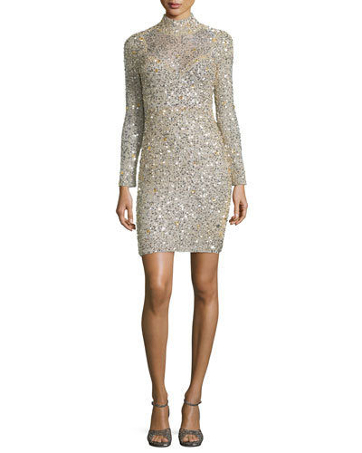 Long-Sleeve Sequined Sheath Dress, Champagne