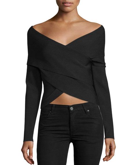 Off-the-Shoulder Wrap-Front Crop Top, Black