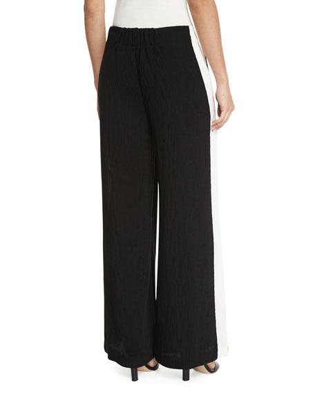 Contrast Side-Stripe Wide-Leg Pants