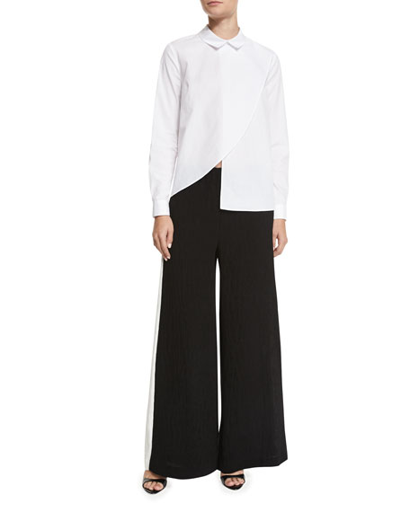 Contrast Side-Stripe Wide-Leg Pants