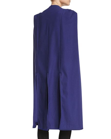 Long Contrast-Trim Tuxedo Cape, Patriot Blue