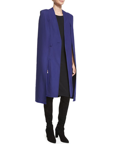 Long Contrast-Trim Tuxedo Cape, Patriot Blue