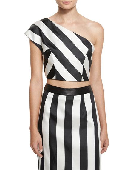 Kendall + Kylie One-Shoulder Striped Crop Top