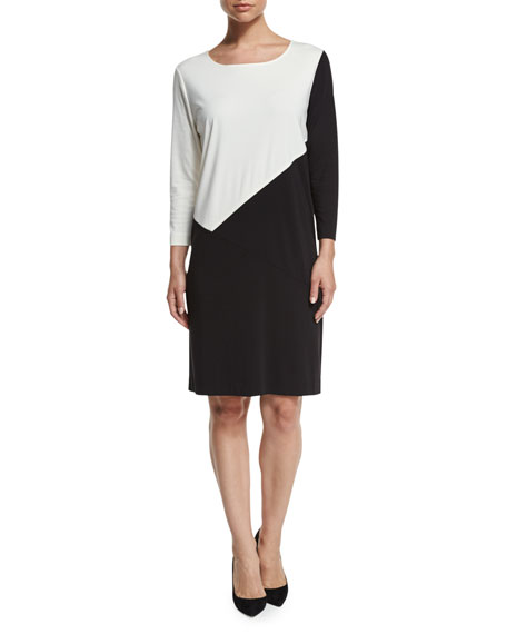 Seamed Colorblock Ponte Dress, Black/Ivory