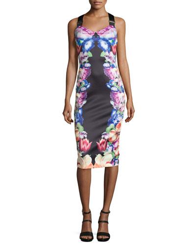 Deony Floral-Print Buckle-Detail Dress, Black