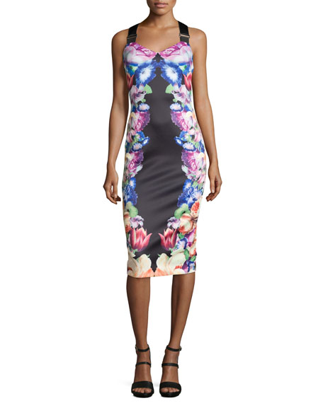 Ted Baker London Deony Floral-Print Buckle-Detail Dress, Black