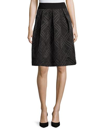 Mansii Bow-Detail Check Skirt, Black