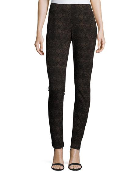 NYDJ 3/4-Sleeve Pleated-Back Blouse & Lori Python-Print Leggings