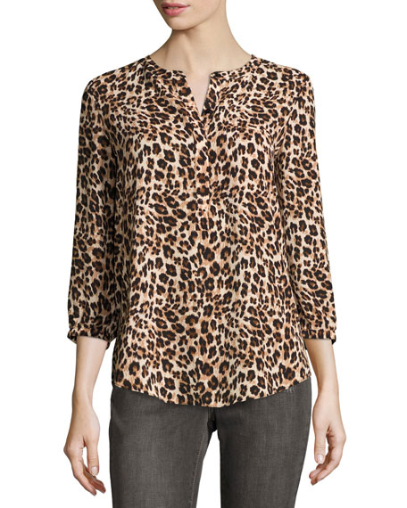 3/4-Sleeve Animal-Print Pleated-Back Blouse, Cheetah
