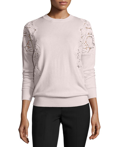 Tae Lace-Cutout Sweater, Nude Pink