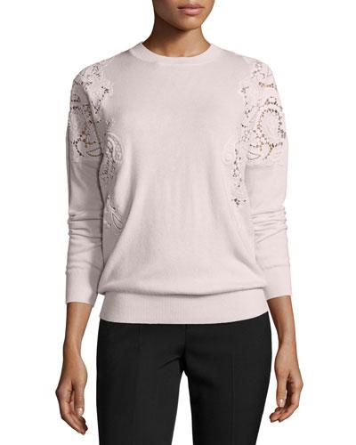 Tae Lace-Cutout Sweater, Nude Pink