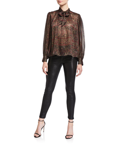 Le Skinny Leather Pants, Washed Black
