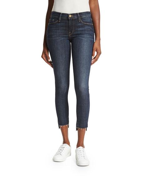FRAME Le Skinny de Jeanne Stagger Raw-Hem Jeans,