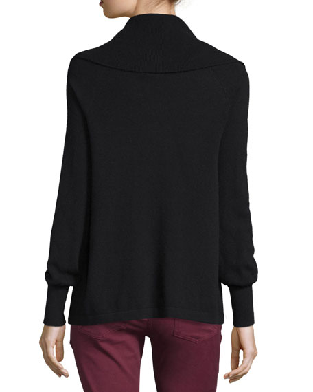 Bade Convertible Cowl-Neck Sweater, Caviar