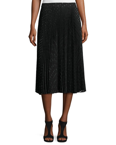 Sunburst Flare Metallic Polka-Dot Midi Skirt, Black