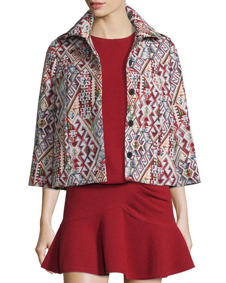 Blush Geometric-Pattern 3/4-Sleeve Jacket