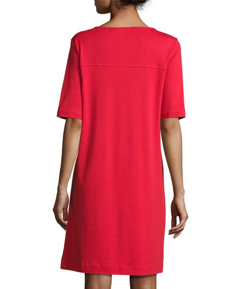 Short-Sleeve Cotton Zip-Pocket Dress, Petite