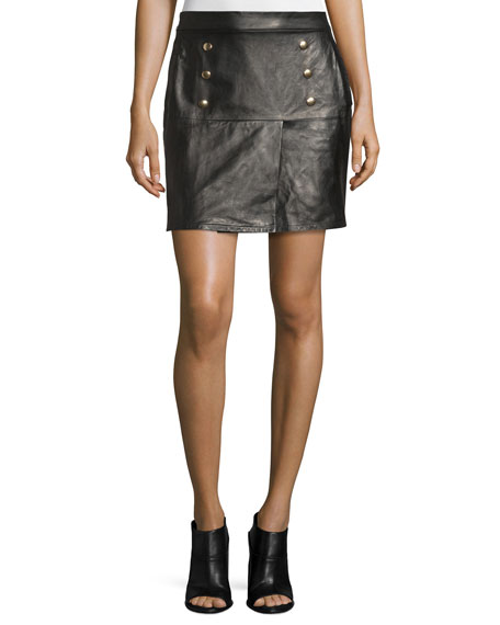 FRAME Overlay Leather Mini Skirt, Noir