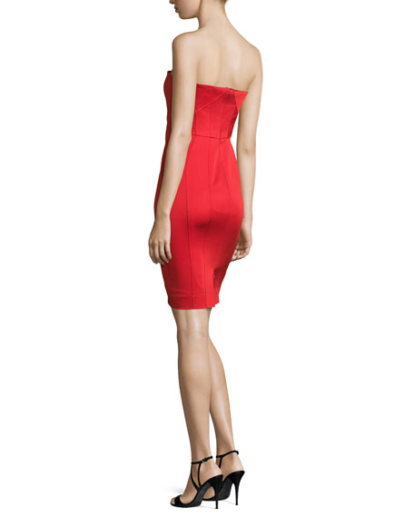 Strapless Twist-Front Cocktail Dress, Cardinal