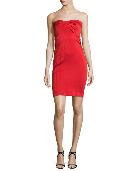 ZAC Zac Posen Strapless Twist-Front Cocktail Dress, Cardinal