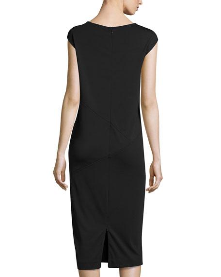 Cap-Sleeve Ponte Knee-Length Dress, Black