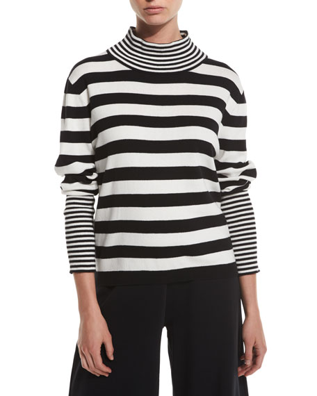 Striped Cotton Interlock Turtleneck, Petite