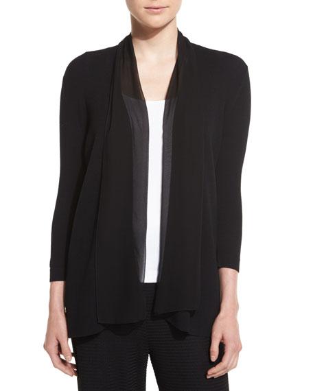 Joan Vass Chiffon-Trim 3/4-Sleeve Cardigan, Plus Size