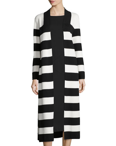 Striped Cotton Milano Long Coat