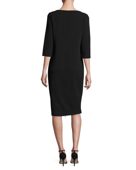 Joan Vass Petite 3/4-Sleeve Textured Slim Dress, Black