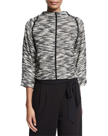 Joan Vass Tweed 3/4-Sleeve Pullover Sweater, Black/Ivory