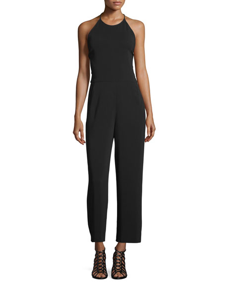A.L.C. Kate Lace-Back Cropped Halter Jumpsuit, Black