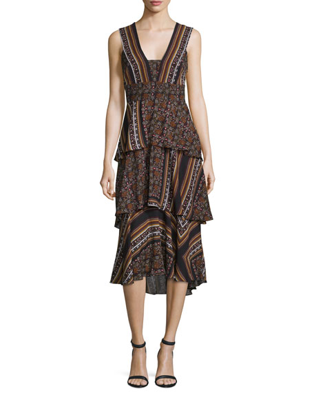 A.L.C. Hayley Sleeveless Tiered Multipattern Midi Dress,