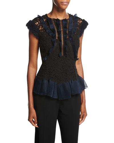 Vien Lace Cap-Sleeve Top, Black/Navy