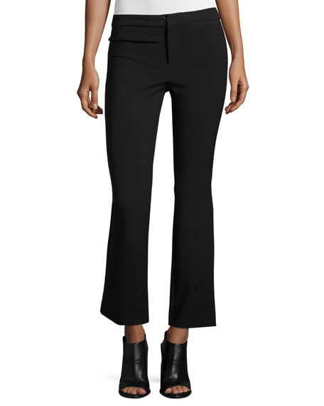 Rebecca Taylor Slim-Fit Flare-Leg Cropped Suit Pants, Black