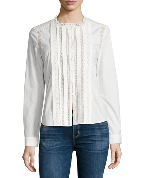 Rebecca Taylor Lace-Trim Long-Sleeve Poplin Top, Sea Salt