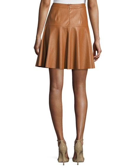 Faux-Leather A-Line Skirt, Cognac