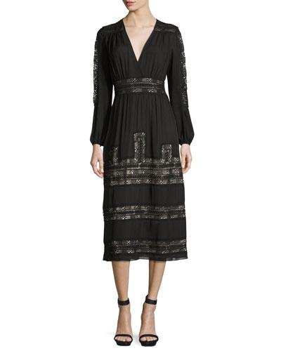 Long-Sleeve Vintage-Inspired Silk Midi Dress, Black