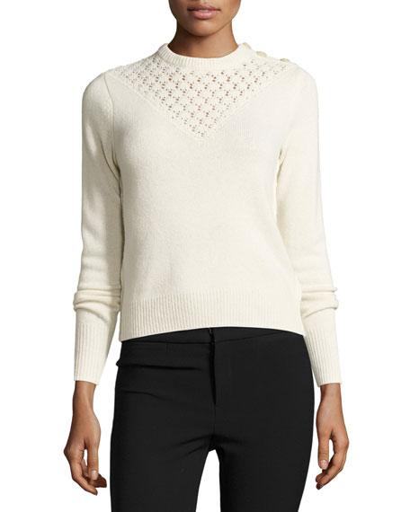 Rebecca Taylor Pointelle-Yoke Pullover Sweater, Ecru