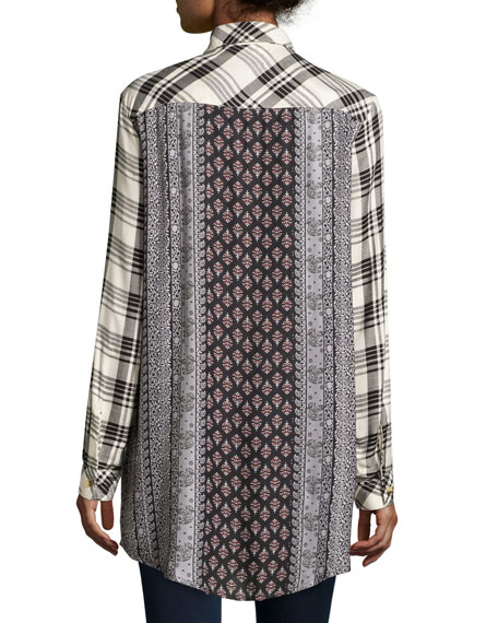 Tina Long-Sleeve Plaid Tunic