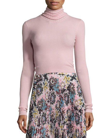 Elisa Ribbed Turtleneck Sweater, Peony