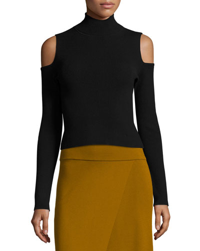 Mervyn Ribbed Cold-Shoulder Sweater, Black