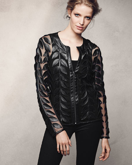 Image 2 of 4: Neiman Marcus Leather Collection Leather Leaf-Trimmed Sheer Organza Jacket, Black