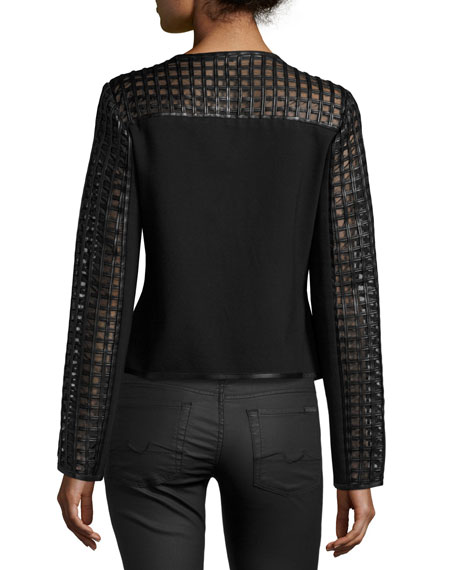 Cropped Cutout Leather Moto Jacket, Black
