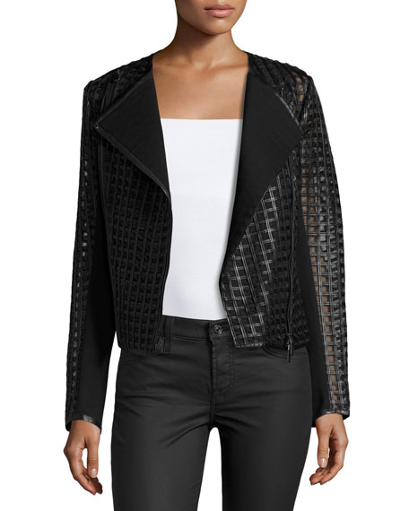 Neiman Marcus Cropped Cutout Leather Moto Jacket, Black