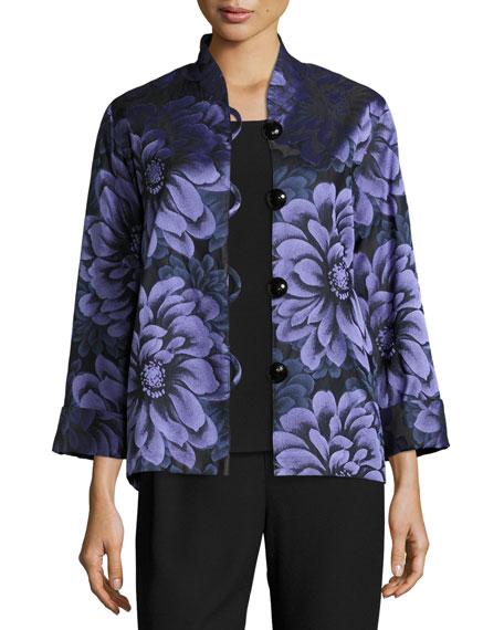 Caroline Rose Flower Show Boxy Jacket, Blue/Purple, Petite