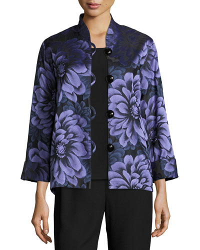 Flower Show Boxy Jacket, Blue/Purple