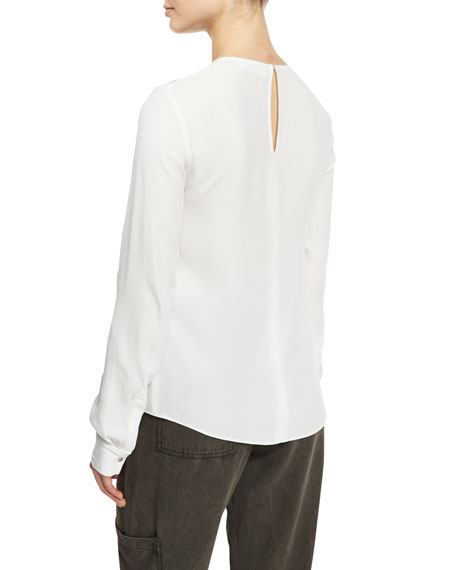 Sian Long-Sleeve Crepe Top, White