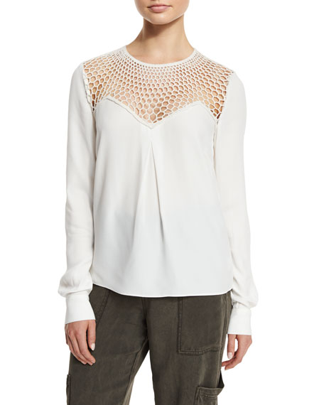 A.L.C. Sian Long-Sleeve Crepe Top, White