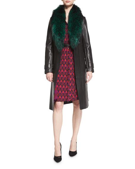 Diane von Furstenberg Valinda Leather Trench Coat w/Fur