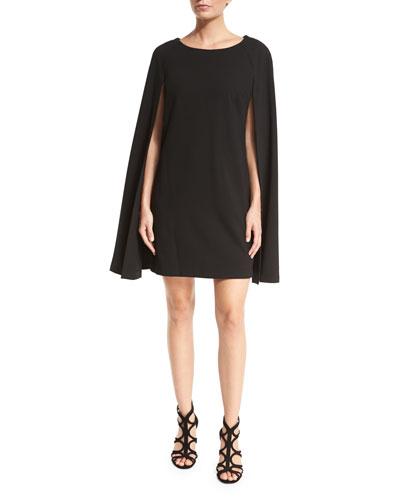 Crepe Cape-Back Shift Dress, Black